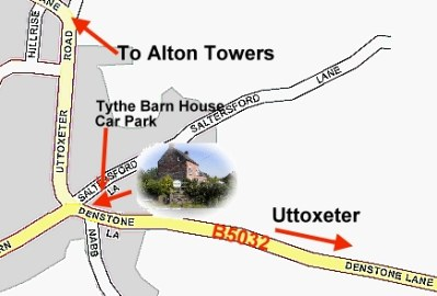 Map, Tythe Barn House, near to Alton Towers